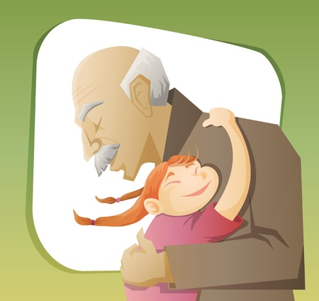 grandfather and grandchild gives each other family hugs Vector