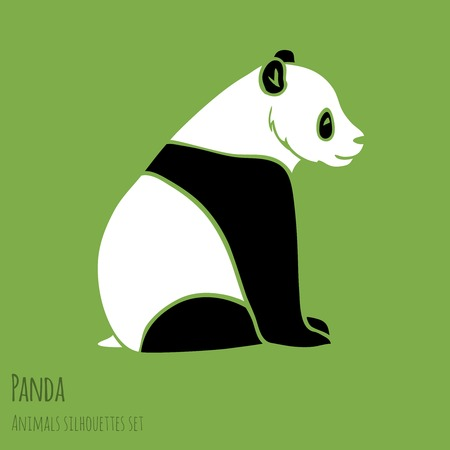 Set of Vector Asia Panda silhouettes black and white Vector