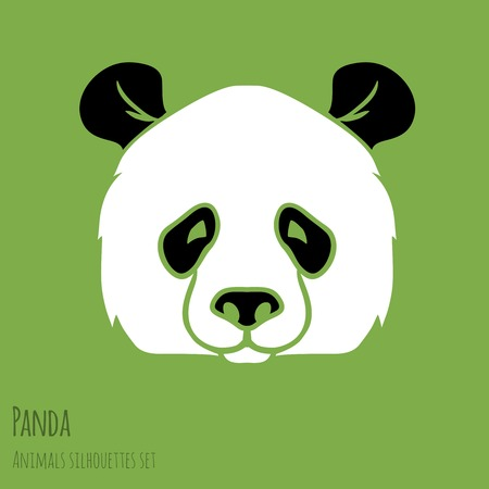 panda bear: Set of Vector Asia Panda silhouettes black and white