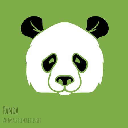 panda bear: Set of Vector Asia Panda silhouettes black and white