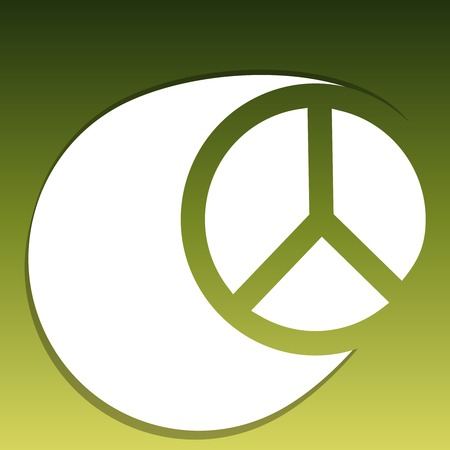 peace symbol: An isolated peace symbol on green background