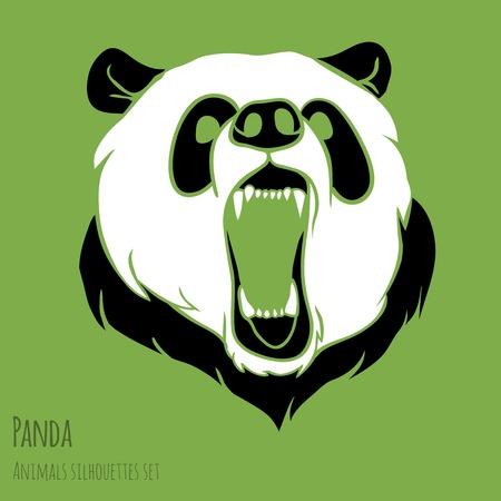 Angry wild danger panda will bite you Illustration