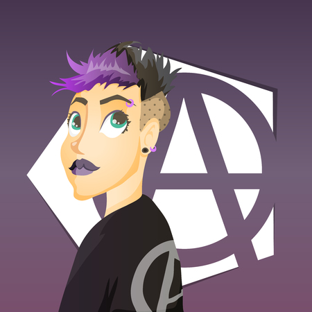 punk hair: Punk girl with dark anarchy symbol behind Illustration