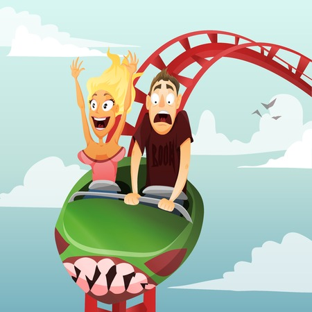 Couple have date in roller-coaster  Girl and boy
