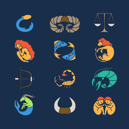 zodiak: Set of zodiak symbols on blue background  Vector illustration