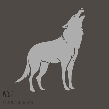 Grey Wolf Silhouette on brown background  vector illustration