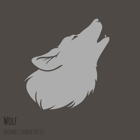 茶色の背景ベクトル イラストに灰色オオカミのシルエット