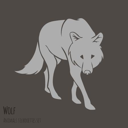 Grijze Wolf Silhouet op bruine achtergrond vector illustratie