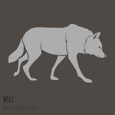 Grey Wolf Silhouette on brown background  vector illustration Vector