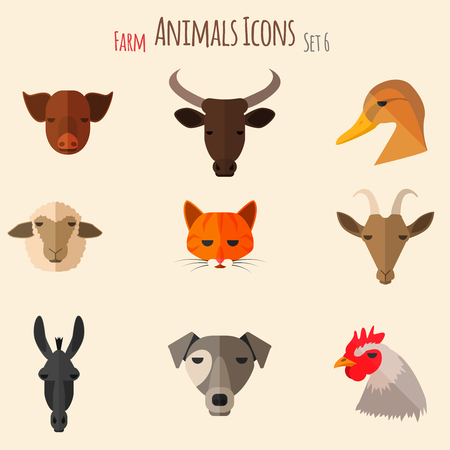 dobbin: Farm Animals Icons on White Background in Flat Style