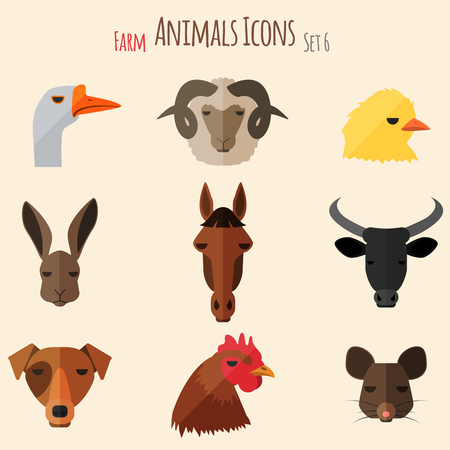 Farm Animals Icons on White Background in Flat Style Vector