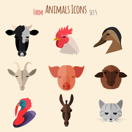 gobbler: Farm Animals Icons on White Background in Flat Style