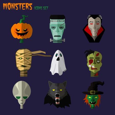 Halloween monster set of icons pumpkin, ghost Dracula zombi werewolf Frankenstein\'s monster alien mummy   Illustration