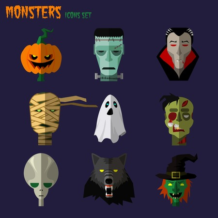 Halloween monster set of icons pumpkin, ghost Dracula zombi werewolf Frankensteins monster alien mummy