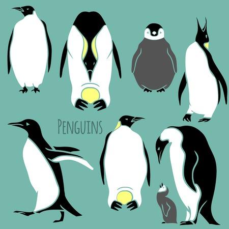 pinguinos navidenos: ilustraci�n del vector del ping�ino blanco y negro - contorno y silueta