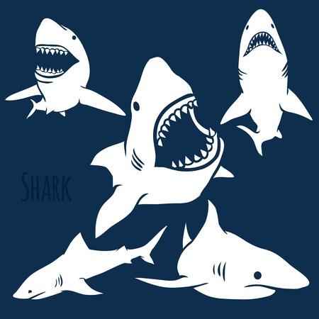 Sagome Pericolo squali nel set blu profondo. Vettore