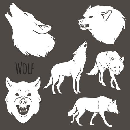 茶色の背景に灰色オオカミのシルエット。ベクトル イラスト