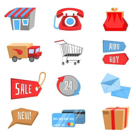 Vector set of modern flat and colorful online shopping icons. Vector Illustrator