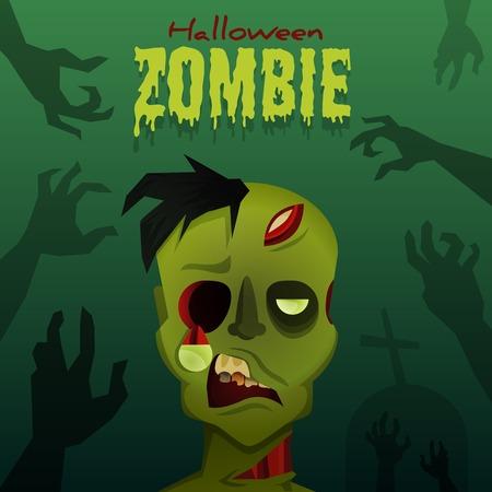 Halloween zombie with hands of dead man on graveyard.  Vector