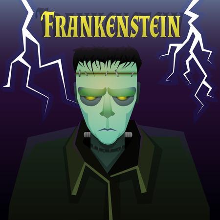 Scary Frankenstein monster with lightnings on background Illustration