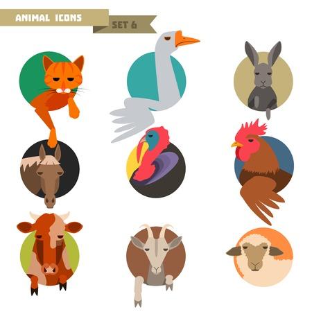 Farm animal avatars set with flat design Illustration