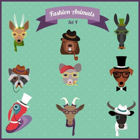 Vector animals: Dễ thương thời trang Hipster vật với thiết kế phẳng. Vector Illustration