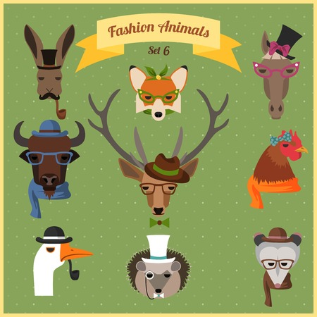 Cute fashion Hipster Animals with flat design. Vector Illustration Vector