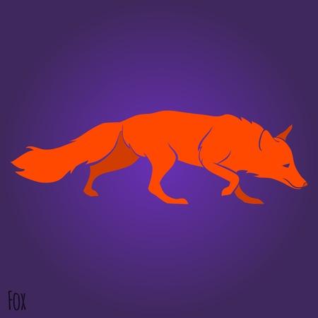 Red running fox silhouette design. Vector illustration Vector