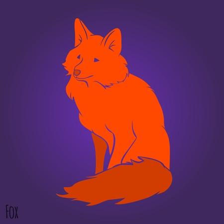 Red sitting fox silhouette design. Vector illustration Vector