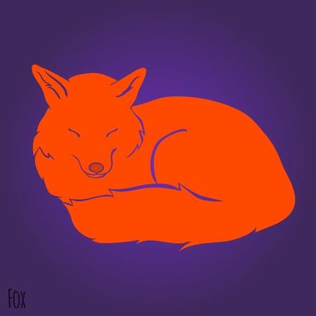 Red sleeping fox silhouette design. Vector illustration Vector