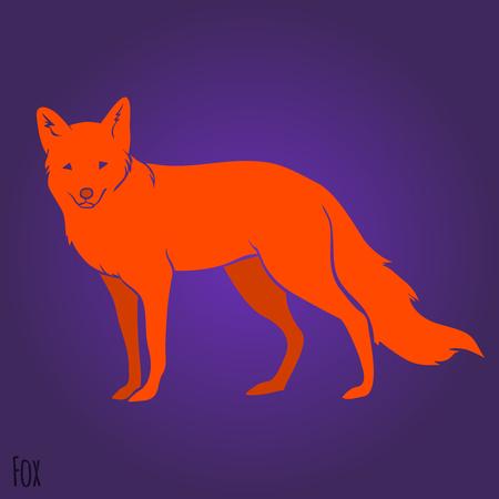 Red standing fox silhouette design. Vector illustration Vector