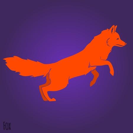 Red jumping fox silhouette design. Vector illustration Vector