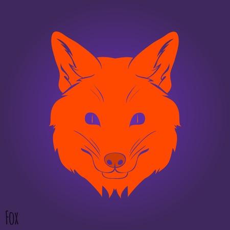 Face Red fox silhouette design. Vector illustration Vector