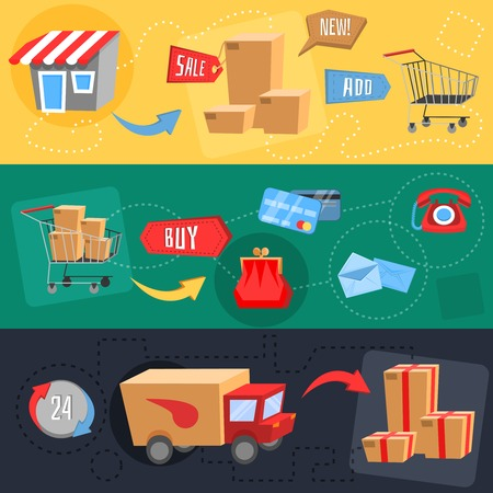 shopping bag icon: flat design concept of e-commerce, delivery, online shopping, business. Vector illustration Illustration