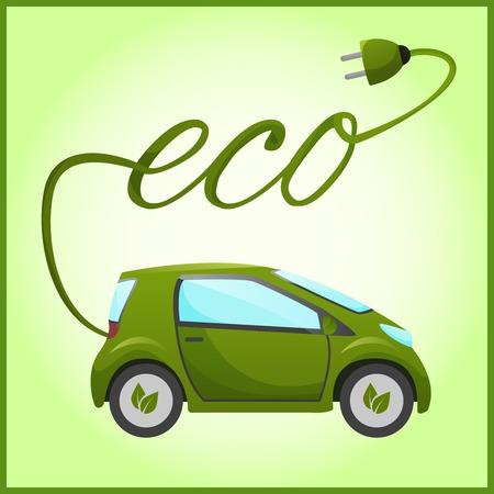 エコ ・ デザインの電気自動車。  イラスト・ベクター素材