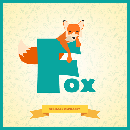 Illustrated alphabet letter F and fox. Vector illustration Vector