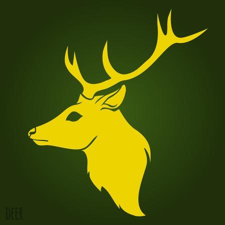 huge antlers: Deer head silhouette on green background.