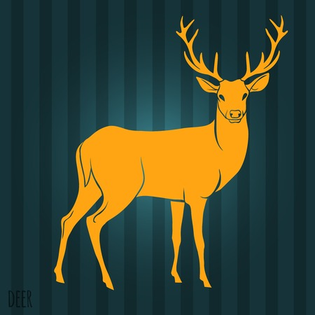 deer hunting: Deer silhouette standing on blue background.