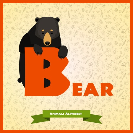 B letter with black bear behind with flat desing. Vector