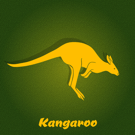 Yellow kangaroo silhouette on green background. Vector Illustration Vector