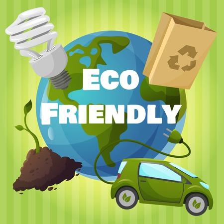 Eco friendly poster with electric car, plant, paper bag, light and globe on background Vector