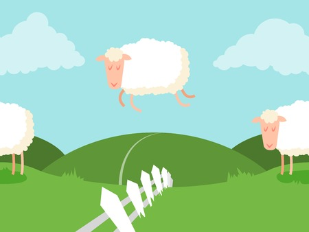 Tileable sheep jumping over the fence. It can be endless. Vector. Vector
