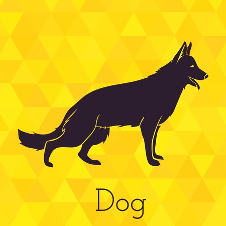 white dog: Dog silhouette on triangles background. Vector illustration