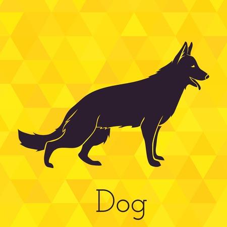 pastorcillo: Silueta de perro en triángulos de fondo. Ilustración vectorial Vectores