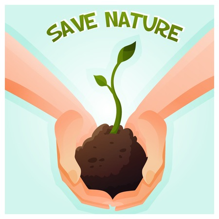 catroon: Two hands holding a young green plant. Vector Illustration Illustration