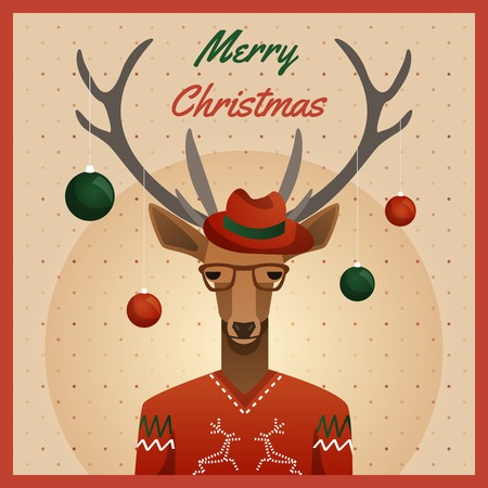 Hipster deer with hat and christmas balls. Vector Illustration