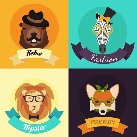 drawing boy: Set of Fashion Hipster Animals. Vector Illustration