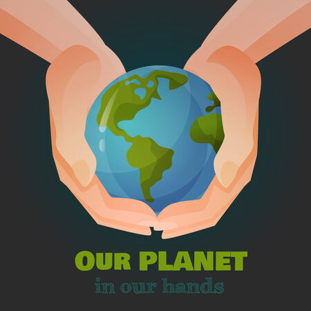 hands holding earth: Hands holding the Earth, with text. Vector Illustration