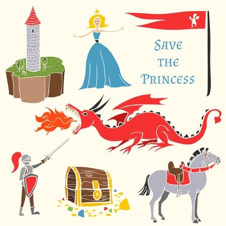 vestido medieval: Conjunto de personas de cuentos de hadas. Princesa y el dragón, flad, castillo, torre, caballero