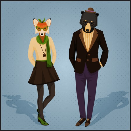 Fashion hipster animals couple fox and bear
